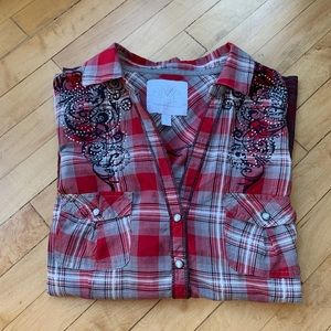 Maurices Women's Red Plaid Western Shirt